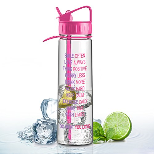 Artoid 900ml mit Motivierender Zeitmarkierung Wasserflasche, aus BPA-Freiem Tritan, Schöne Farben, Trinkflasche mit einer Hand zu öffnen, Sportflasche Auslaufsicher, mit Strohhalm & Tragehenkel, Fahrradflasche, Radfahren, Reisen, Camping, Outdoor