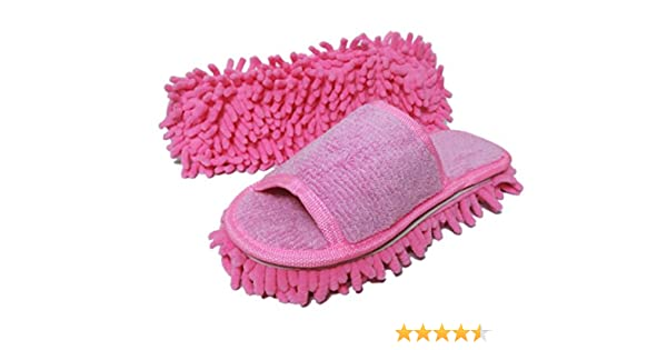 Friendly House Womens Microfiber Floor Cleaning Mop Slippers with Terry Towel Fabric Royal Blue Suitable for Women Size 5-7, Pink