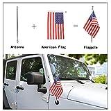 Schwarz Aluminium/Multifunktional Antenne Ersatz + USA American Flag und Fahnenstange Halterung für 2007–2017Wrangler JK