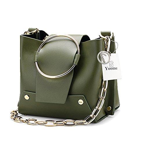 Buckle Flap Bag (Yoome Kette Handtaschen für Frauen Nieten Clutch Crossbody Umhängetaschen Rindsleder Farbe Blockieren Makeup Tasche - Green.Large)