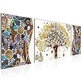 Bilder Gustav Klimt - Baum des Lebens Wandbild 160 x 50 cm Vlies - Leinwand Bild XXL Format Wandbilder Wohnzimmer Wohnung Deko Kunstdrucke Gelb 4 Teilig - MADE IN GERMANY - Fertig zum Aufhängen 004646a