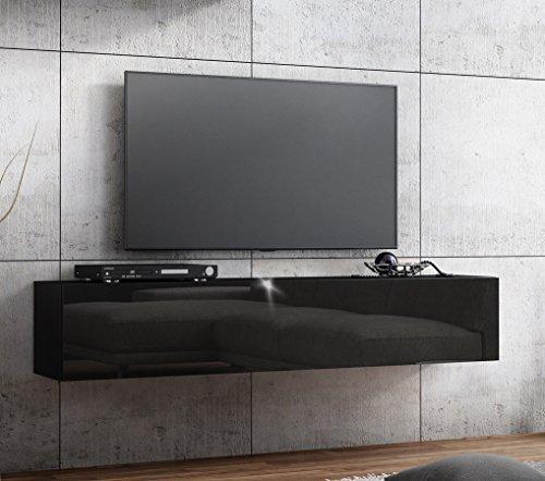 TV Lowboard Hängeboard HOCHGLANZ Board Schrank Tisch 160cm (korpus matt schwarz+front schwarz hochglanz)