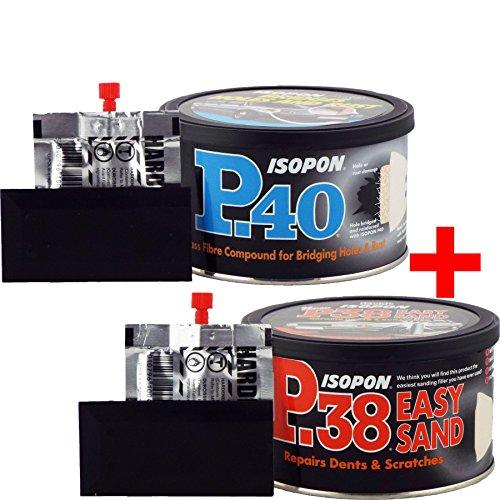 U-POL Isopon de David P38 Mastic pour remplissage de carrosserie en polyester ponçage facile et P40, Pâte de réparation pour remplissage polyester 2 K en fibre de verre, Lot de 2 x 250 ml
