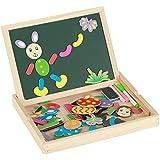 Witasm puzzles de madera para niños rompecabezas pizarra magnética infantil doble cara verde/blanco con rotulador y tizas juguete educativo regalo 3 4 5 años para crear dibujo