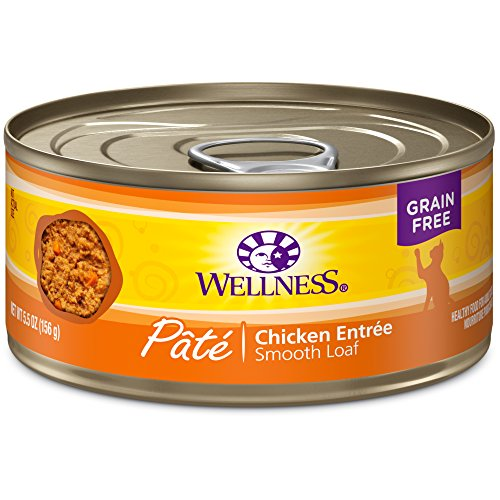 Wellness Complete Health Natural Canned Grain Free Wet Cat Food, Chicken Pate, 5.5-Ounce Can by Wellness Natural Pet Food