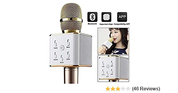 RFV1(™Q7 Portable Multi-function Wireless/Bluetooth Karaoke Microphone  Handheld Condenser Microphone with Bluetooth Speaker for iPhone iPad iPod  and