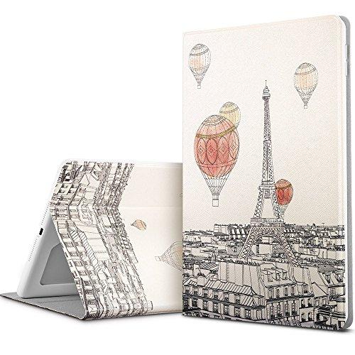 Preisvergleich Produktbild ESR iPad 9.7 2017 Hülle,  Illustrator Bildserie Cover Auto aufwachen / Schlaf Funktion Case Ledertasche Einstellbarem Blickwinkel Anti-Kratzer Schutzhülle für iPad 9.7 Zoll 2017(Faszinierende Paris)