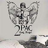 jiushizq Tupac Thug Angel Rapper Hip Hop Legende DIY Wandkunst Aufkleber Jungen Wohnzimmer Wohnkultur Wandtattoos Weiß 87 x 91 cm