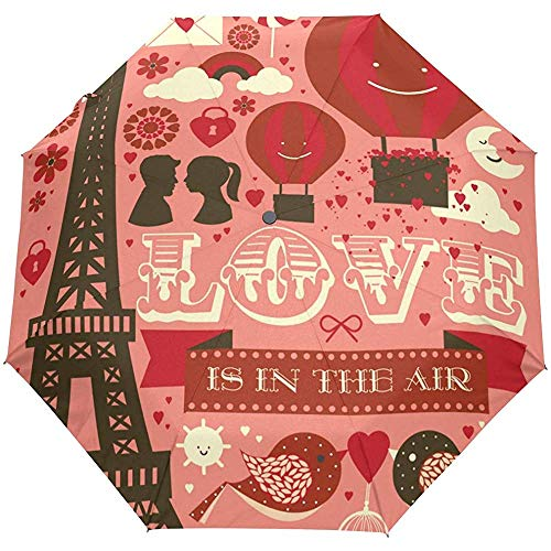 Valentinstag Cute Paris Eiffelturm Love Hearts Auto Open Umbrella Sonnenregen Regenschirm Anti UV Folding Compact Automatic Umbrella