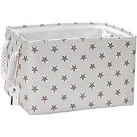 Plegable Rectangular Tela almacenamiento decorativo Organizador de armario estantería cesta con asas de cuerda para el almacenamiento de ropa y organizador de juguete (estrella gris)