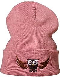 4c2ac8913df141 Baddery Strickmütze: Fliegende Eule - Beanie/Winter / Woll-Mütze/Roll-Muetze/Kinder  / Cool/Rosa / Herren Damen…