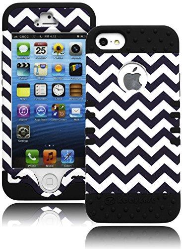 iPhone 5Fall, Bastex Heavy Duty Schutzhülle Case-Weiches Schwarz Silikon Cover mit Schwarz und Weiß Chevron Design Hard Case für Apple iPhone 5, 5S, 5G