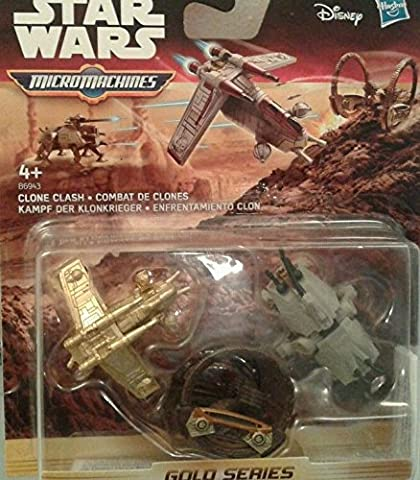 Star Wars Gold Series Attack Of The Clones Micro Machines 3-Pack Clone Clash Attacks - Includes - Republic Gunship, AT-TE And Hailfire Droid