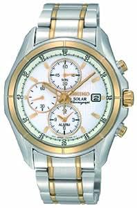 Seiko - SSC002P1 - Montre Homme - Quartz Chronographe - Alarme / Chronomètre / Solaire - Bracelet Acier Inoxydable Multicolore