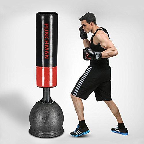 Panana Standboxsack 160cm Höhe, Gefüllter Freistehender Boxtraining, Fitnessboxen, Boxsack - Schwarz