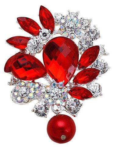 donne di cristallo del metallo rhinestone della lega moda sposa spille goccia d'acqua festa per il matrimonio , red-one size , red-one size