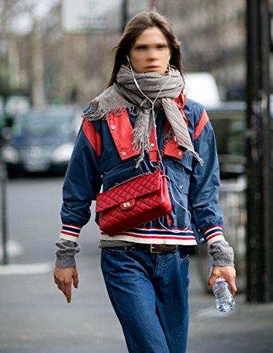 Sheli Klappe Gesteppte Cross Body Handtasche Turn Lock Handtasche Schultertasche für Frauen Bürodame Rot