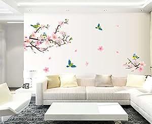 ufengke® Bella Fiori di Pesco Simpatici Uccelli Gazza Adesivi Murali, Camera da Letto Soggiorno Adesivi da Parete Removibili/Stickers Murali/Decorazione Murale