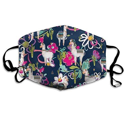 Alpaca Llama Blume, modische Ohrschlaufe, Gesichtsmasken, Anti-Staub, Anti-Flu, Pollenm, Keime, Bakterien, Virus, Smog, Gesichts- und Nasenschutz, mit verstellbarem Gummiband, medizinische Maske Unisex Street-bikes