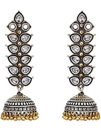 Peora Indian Traditional Beautiful Handcrafted German Oxidised Silver Floral Jhumka Jhumki Earring for Women Girls