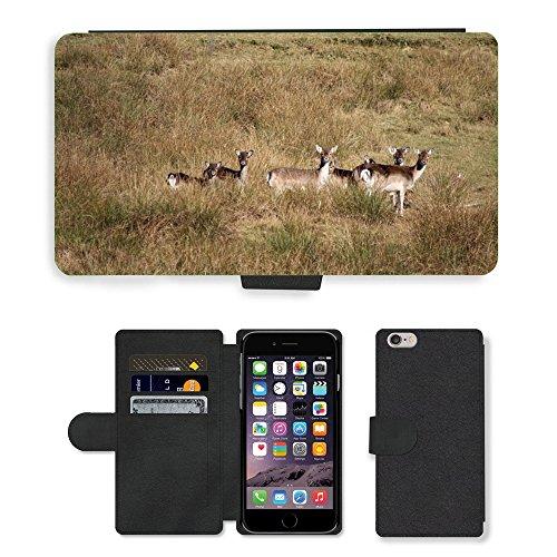 Just Mobile pour Hot Style Téléphone portable étui portefeuille en cuir PU avec fente pour carte//m00138839Roe Deer Animaux Sauvages Mammifère modèle//Apple iPhone 6Plus 14cm