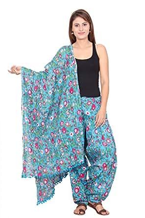 Rama Women's Cotton Printed Fabric Patiala and Dupatta Set