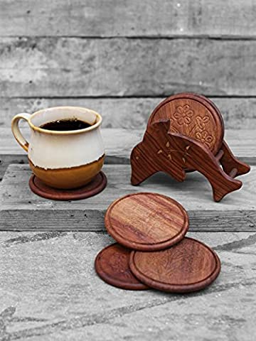 Store Indya Delightful Hand Carved Wooden Coasters Set Of 6 In Dolphin Holder 11.9 Cm With Mughal Inspired Floral Carving & Brass Inlay