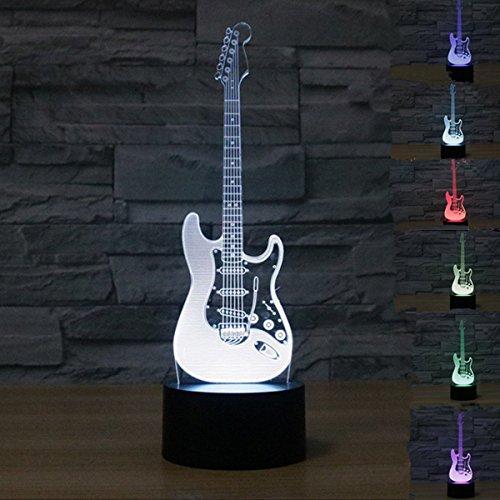 3D LED Lampe Nachtlicht,KINGCOO Visualisierung Amazing Optische Täuschung Touch Control Light 7 Farben ändern Schreibtischlampen für Kinderzimmer Decoration,Best Geschenk (E-Gitarre)