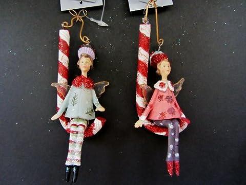Gisela Graham–NEUE Design. Weihnachten Engel auf Candycane hängende Dekoration Baum–Set von (Designer Christmas Tree Topper)