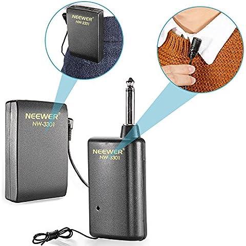 Neewer® NW-3301 Sistema de Micrófono Inalámbrico de Manos Libres con Solapa y Clip: Transmisor + Receptor + Micrófono + Baterías, Perfecto para la Presentación/Discurso/Difusión/ Rendimiento y