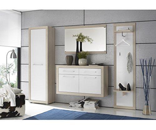 86-346-66 Crema Eiche Sägerau Dekor / weiss Garderobe Diele Kleiderstände Schuhschrank Spiegel Schuhkommode 4teiliges Set