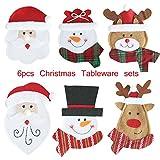 Weihnachten Besteckhalter, Besteck-Sets, Serviettentasche, Weihnachten Besteckhalterset, Sankt-Klage Weihnachtsdeko, Taschen für Messer & Gabel, Weihnachten Dekoration- 6 Stücke