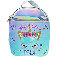 a6ab18ddab Personalised Girls Lunch Bag Holographic Unicorn FACE Pretty Shiny Silver  Insulated School Cool Box - KS33