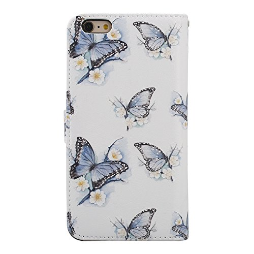 Cover iPhone 6, Custodia iPhone 6S a Libro, Flip Portafoglio Cover in Pelle + Bumper Custodia in Silicone TPU Morbido, Surakey Elegante Full Body Protezione Posteriore iPhone 6 Custodia Wallet in PU L Farfalla Fiore