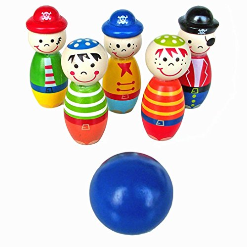 Mamum Bowling-Set aus Holz, Cartoon-Stil, Tiermotive, Spielzeug für Kinder, für Spaß und Sport im Freien Einheitsgröße mehrfarbig