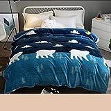 AI LI WEI Klimadecke, mat Marineblaue Tierbild-Winter-Schlafsaal-Studenten-Flanell verdicken Steppdecken-Thermal-Blätter (Size : 180 * 200cm)