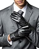 YISEVEN Guanti in pelle di vitello touchscreen uomini Slim foderato in pile fodera riscaldata calda genuina per il vestito invernale guida di lavoro moto regali, nero S