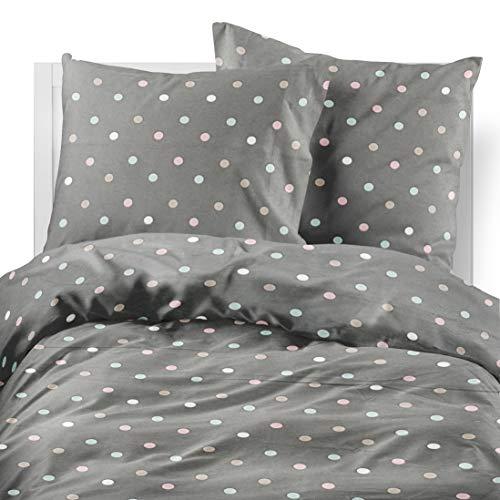 Friends at Home Bettwäsche-Set für Queen, 100% Baumwolle, weich, hypoallergen, bequem, Hotel-Collection, schweres Flanellgewebe, gepunktet, Schwarz/Weiß/Pink/Grün/Braun