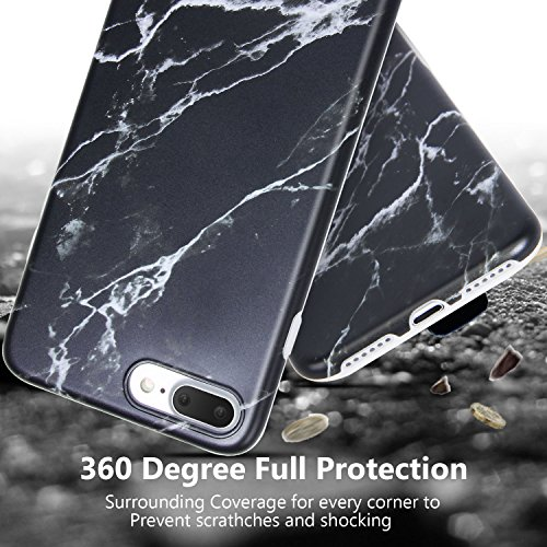 iPhone 8 Plus Marble Case, iPhone 7 Plus Marble Case, Imikoko Matt Soft Silicone Phone Case Stone Marble Painting Slim TPU Bumper Phone Case Flexible Protective Back Back Marble Lines Soft Back Cover  Muster 3