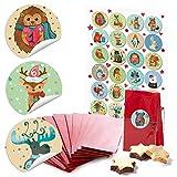 24 piccoli sacchetti di carta rossi con inserto in pergamena 7 x 4 x 20,5 cm + 1 fino a 24 numeri adesivi per Avvento animali invernali colorati fai da te calendario Natale