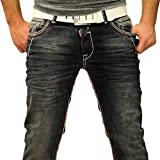 Rusty Neal NEON-NAHT Kontrast Naht Slim Jeans Hose Used Blau Denim 8323-31 ROT, Schrittlänge:W40 / L34