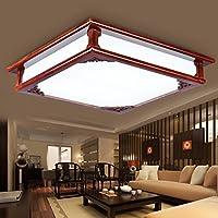 BBSLT Semplice quadrato tinta legno salotto moderno cinese-led lampada luce camera da letto studio lampada 450mm
