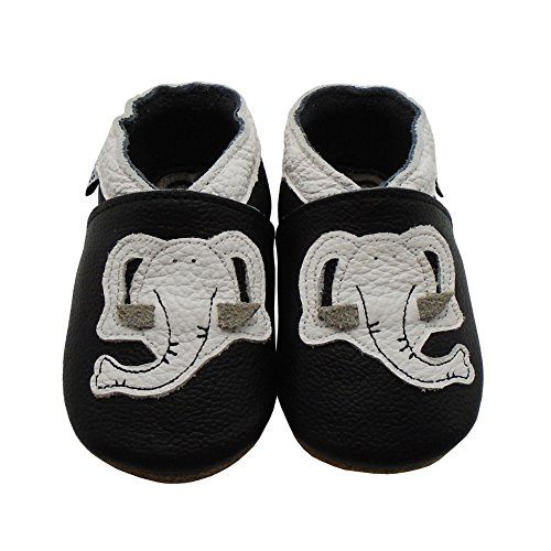 Mejale Weiche Sohle Leder Babyschuhe Lauflernschuhe Krabbelschuhe Kleinkind Kinderschuhe Hausschuhe Karikatur Elefant Schwarz