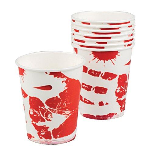 Set 6Teller HORROR BLOODY aus Papier Gläser 250 ml Weiß/Rot
