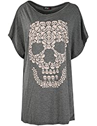 Oops Outlet Womens Halloween Party Baggy Lagenlook Top Ladies Spooky Skull Batwing Scary Loose Fit T Shirt