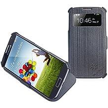 Flipcase per Samsung Galaxy S4 - Custodia estremamente sottile rivestita in fibra con finestra S-View e funzione di sostegno - Colore Grigio