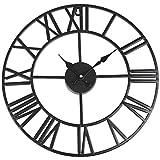 SOLEDI Orologio da Parete Vintage in Ferro Diametro 40cm Orologio Nostalgico per Decorazione Casa Cucina Hotel Bar Ufficio Nero