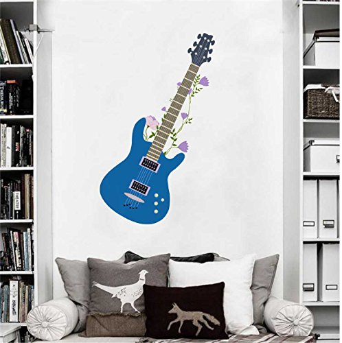 Rawpockets Decal ' Blue Stylish Guitar' Multi-Color Medium Size Wall Sticker(Material- PVC Vinyl Matte Finish,Wall Coverage Area -Height -75cm X Width -40cm)( Pack of 1)  available at amazon for Rs.199