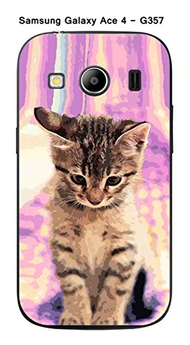 Coque Samsung Galaxy Ace 4 - G357 design Chat tigre fond rose