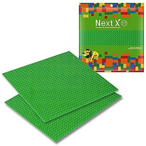 NextX 2 Stück Grundplatten Große Bauplatte Kompatibel mit Gebäude Spielzeug,25cm* 25cm Verdickung Bausteine Platten set 32 * 32Punkte
